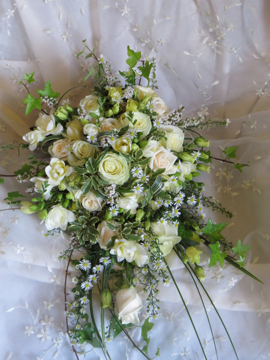 Jacaranda bridal bouquets gallery natural tied trailing shower with vendella avalanche roses freesias lisianthus september flower mixed foliages mightylinksfo